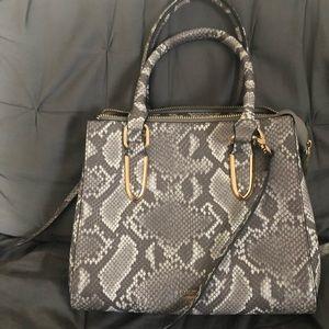 dune gray white snake skin purse